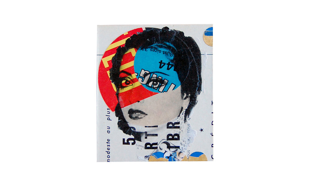 """Small Collaged Painting, mixed-media collaged painting, 1"""" x 3"""" x 3.5"""", $120    Contact us for purchase"""