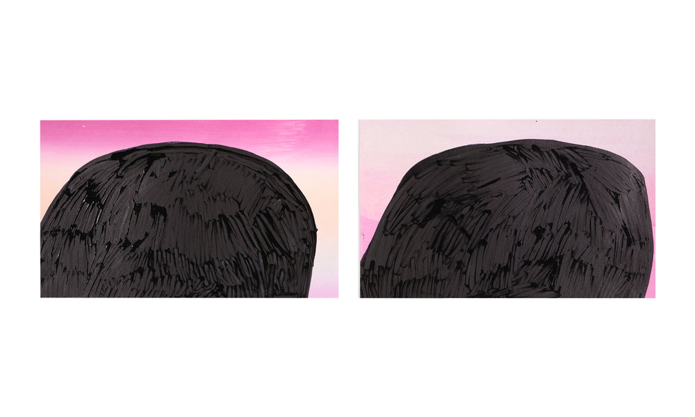 """The Repressed, The Return of the Repressed,silkscreen and marker, diptych, 28"""" x 10"""", $1200 (framed) Contact us for purchase"""