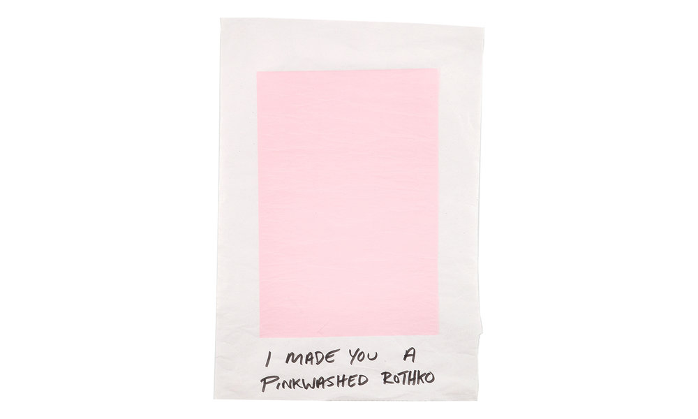 """I Made You a Pinkwashed Rothko,silkscreen and marker on newsprint, 24"""" x 36"""", $1800 (framed) Contact us for purchase"""
