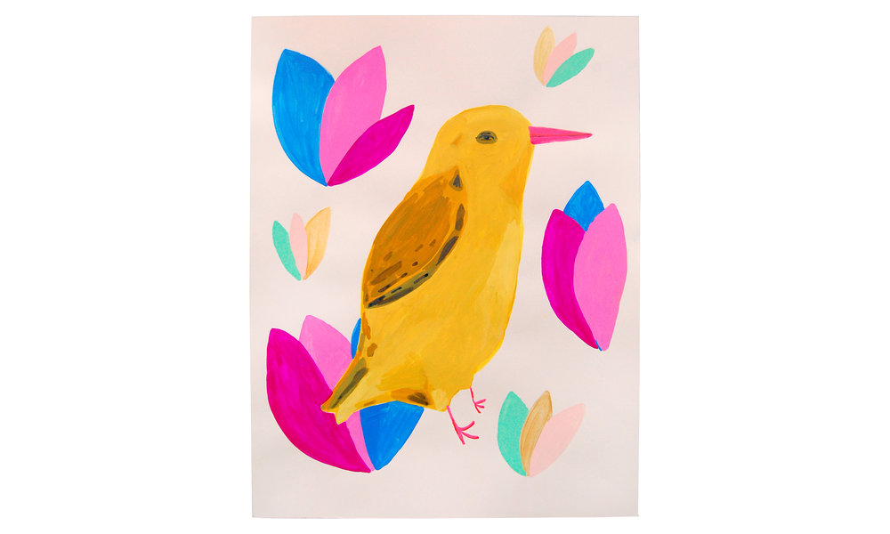 "Yellow Bird,  gouache and acrylic on paper, 19"" x 25"", $450    Contact us for purchase"