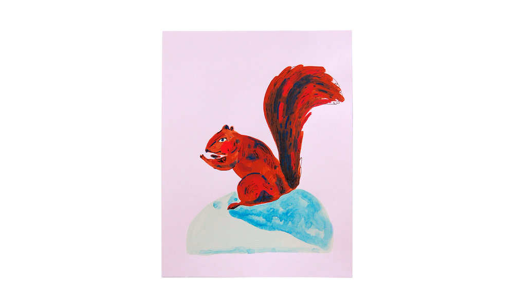 "Squirrel II,  ink, watercolor and gouache on paper, 8.5"" x 11"", $250    Contact us for purchase"