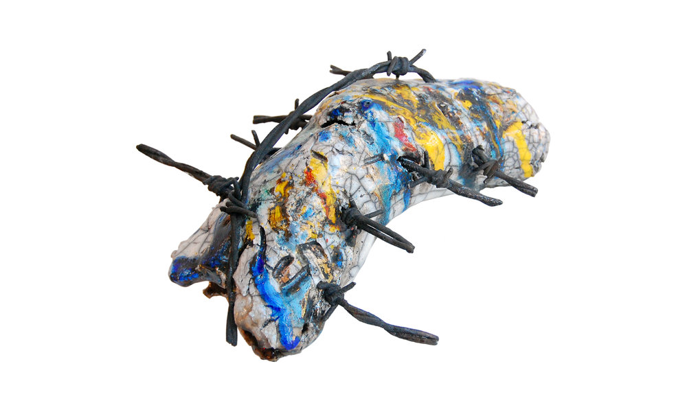 Caterpillar Loaf I, stoneware, barbed wire, underglaze, glass, raku, variable dimensions, $475 Contact us for purchase