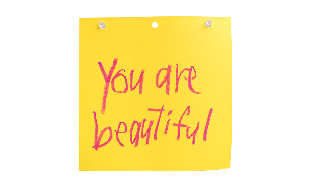 "You Are Beautiful XIII,  oil pastel on paint swatch, 8"" x 8"", $50    Contact us for purchase"