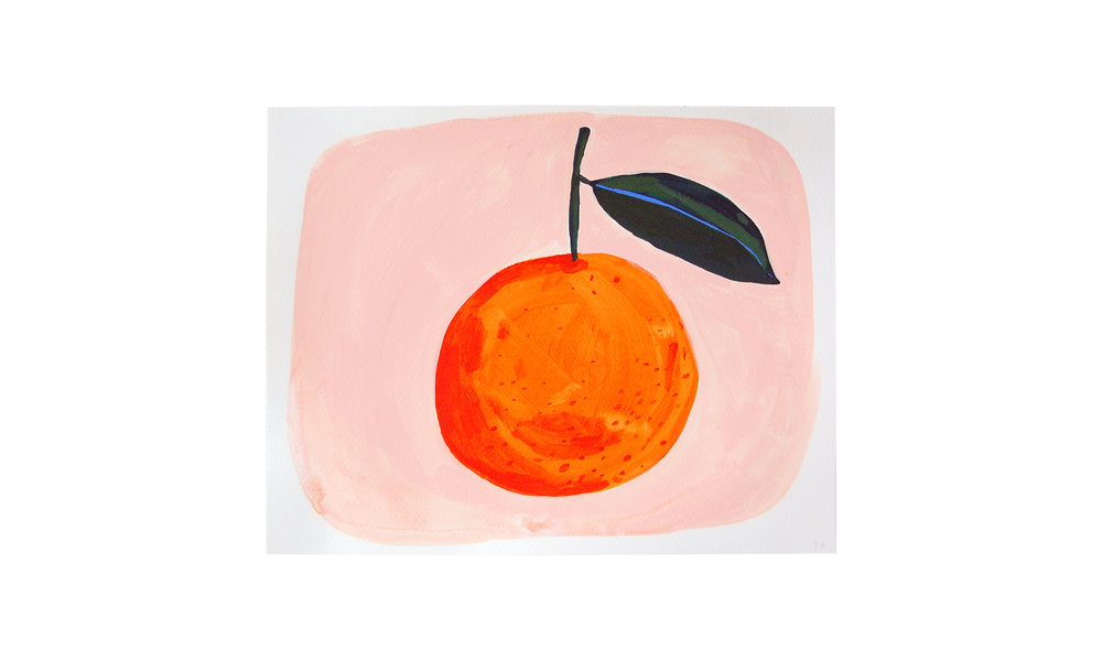 "One Orange,  ink, watercolor and gouache on paper, 11"" x 14"", $250    Contact us for purchase"