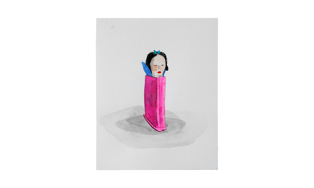 "Snow White Pez,  ink and watercolor on paper, 9"" x 9"", $175    Contact us for purchase"