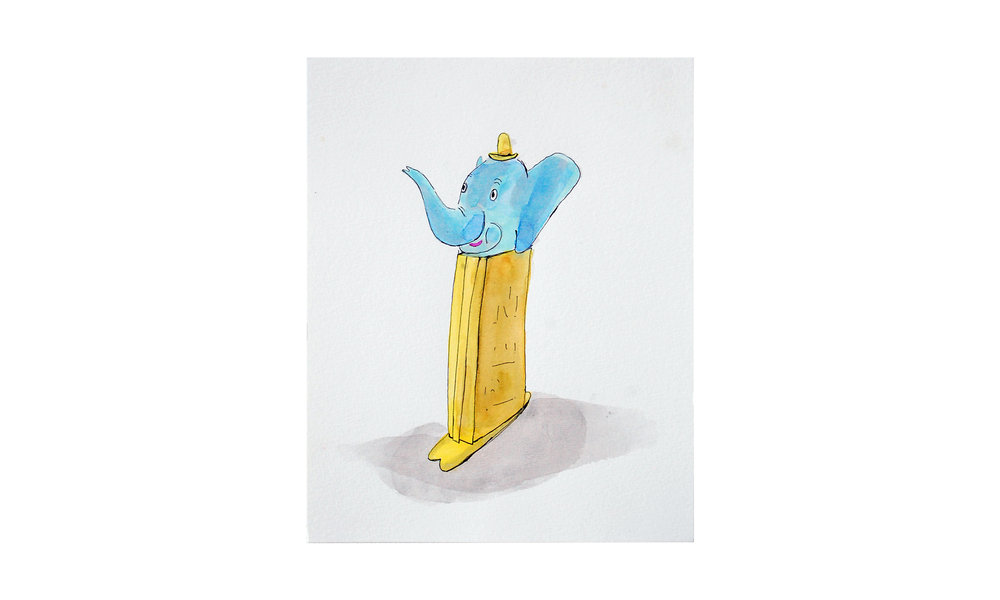"Elephant Pez,  ink and watercolor on paper, 8"" x 10"", $175    Contact us for purchase"