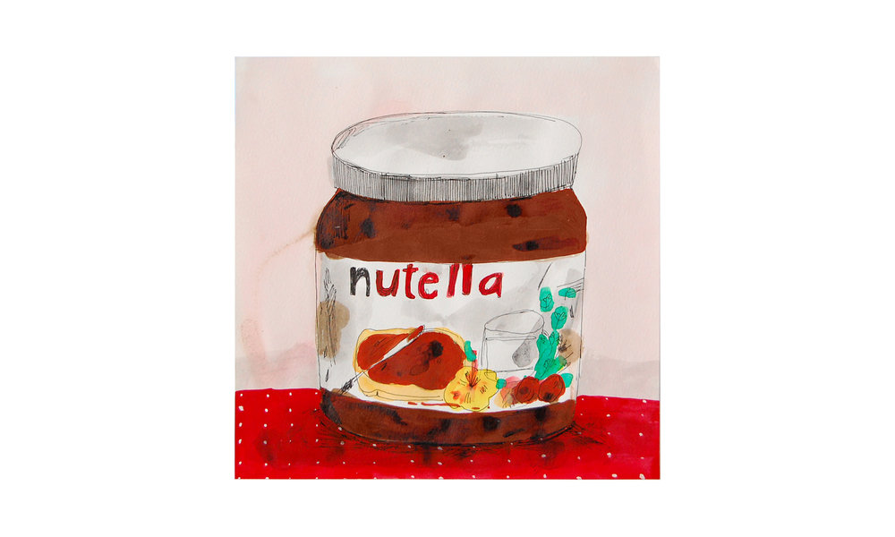 "Nutella,  ink, watercolor and gouache on paper, 11"" x 11"", $300    Contact us for purchase"