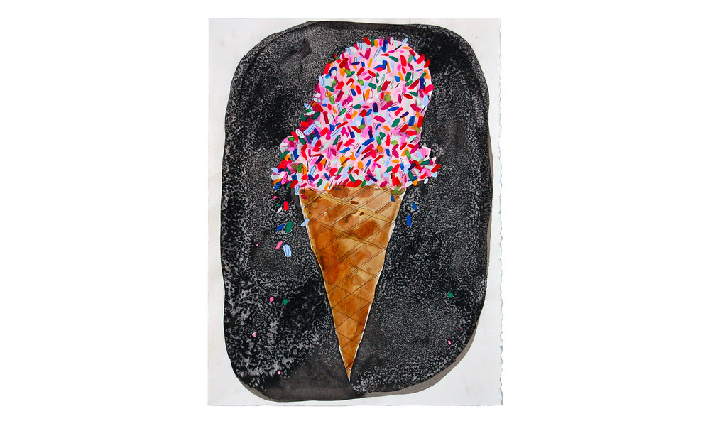 "Ice Cream with Sprinkles,  ink, watercolor and acrylic on paper, 11"" x 15"", $350    Contact us for purchase"