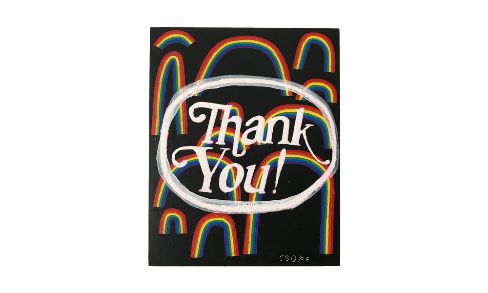 """Thank You with Rainbows (small), mixed media on panel, 8"""" x 10"""", $500    Contact us for purchase"""