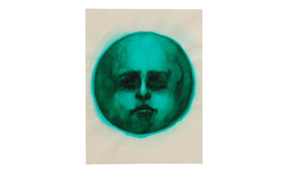 "Moon Face, Emerald,  watercolor ink on archival paper, 9"" x 12"" (unframed), $120    Contact us for purchase"