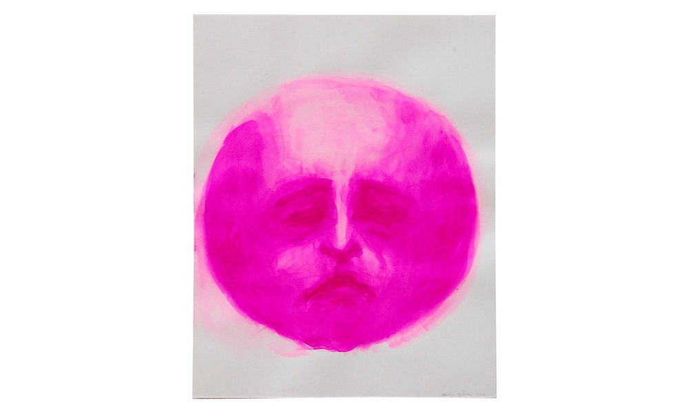 "Moon Face, Red Violet,  watercolor ink on archival paper, 11"" x 14"" (unframed), $120    Contact us for purchase"