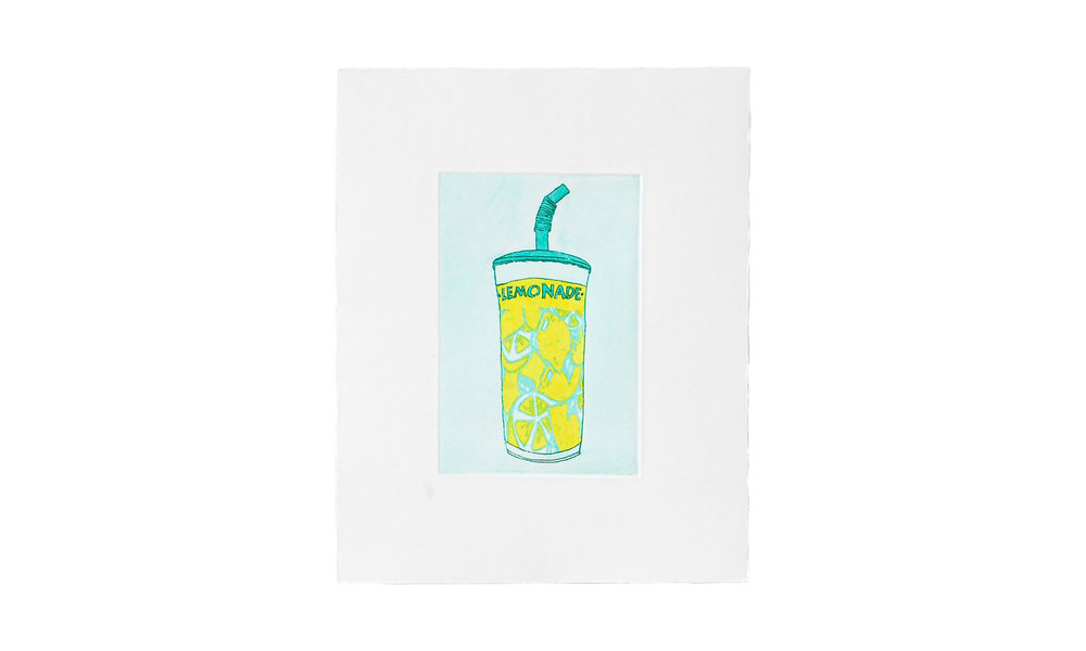 """Lemonade, etching with watercolor, 8"""" x 10"""" (framed), $225    Contact us for purchase"""