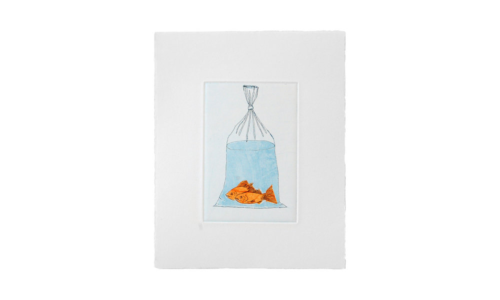 """Goldfish, etching with Chine-collé, 8"""" x 10"""" (framed), $225    Contact us for purchase"""