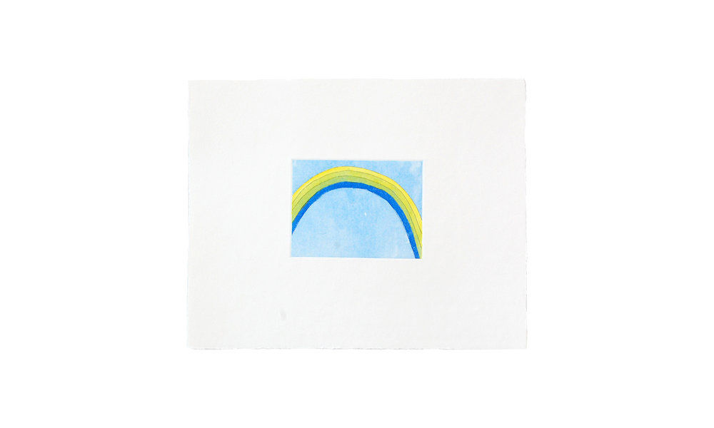 """Blue Rainbow, etching with watercolor, 8"""" x 10"""" (unframed), $125    Contact us for purchase"""