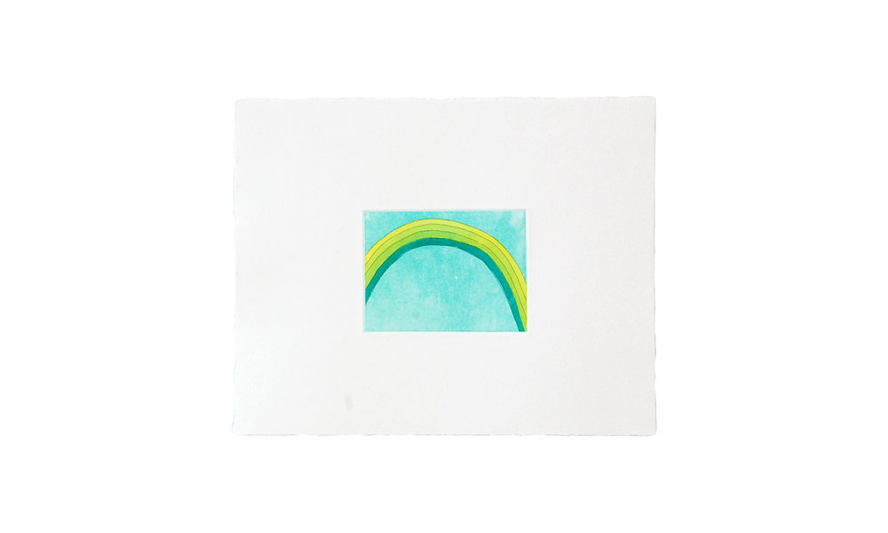 """Green Rainbow, etching with watercolor, 8"""" x 10"""" (unframed), $125    Contact us for purchase"""