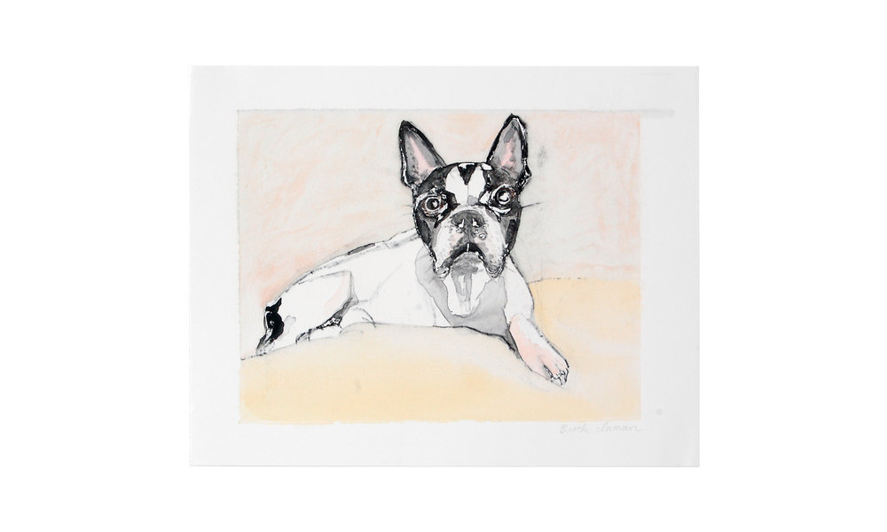 """Rocko , screen monoprint with drawing, 11"""" x 14"""" (unframed), $225   Contact us for purchase"""