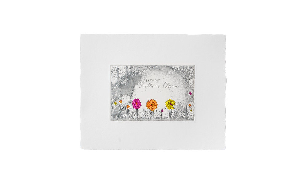 """Zinnias Southern Charm, etching with watercolor, 8"""" x 10"""" (framed), $150    Contact us for purchase"""
