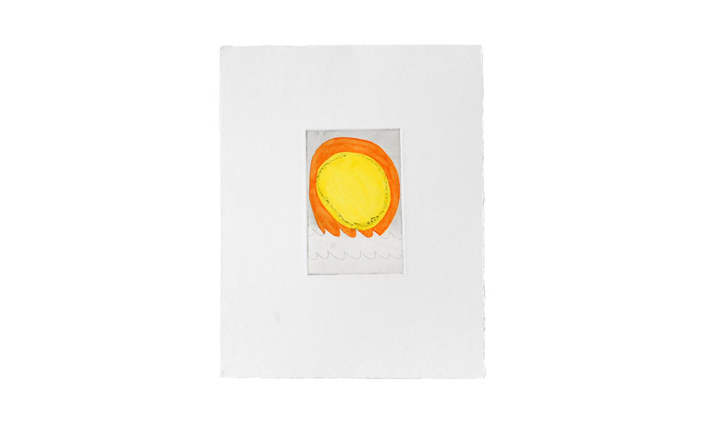 """Sunrise Sunset Solar Eclipse, etching with watercolor, 8"""" x 10"""" (framed), $150    Contact us for purchase"""