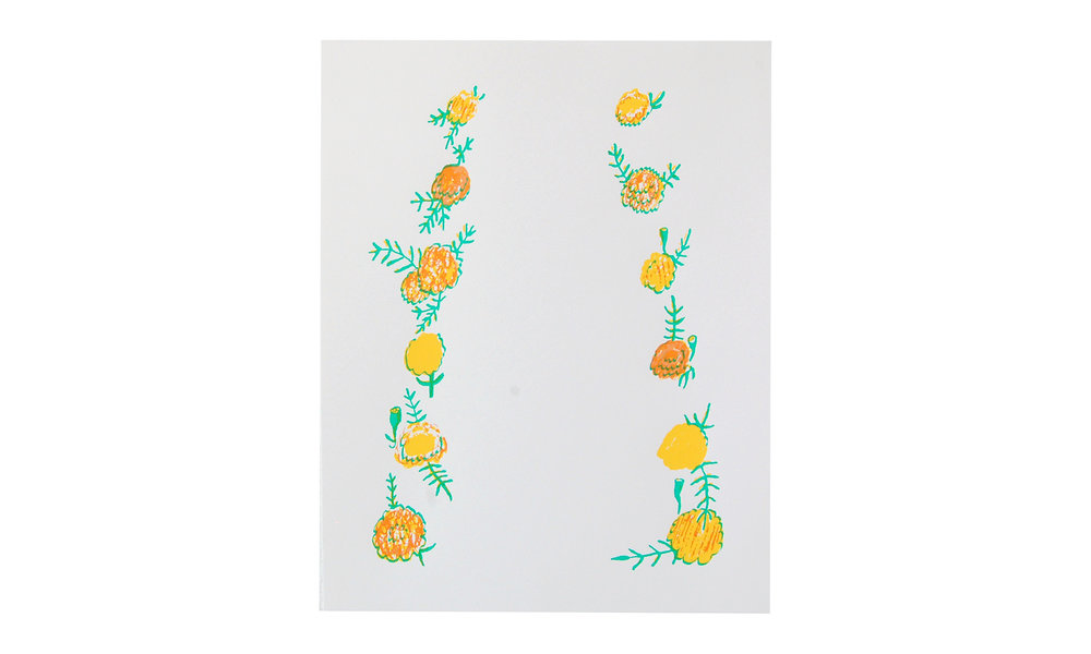 """Marigolds, screenprint, 11"""" x 14"""" (unframed), $50    Contact us for purchase"""