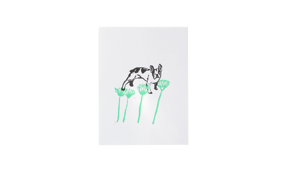 """Rocko with Flowers, screenprint, 6"""" x 8"""" (unframed), $20    Contact us for purchase"""