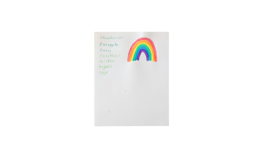 """Rainbow List , drawing, 5.5"""" x 7"""" (unframed), $100    Contact us for purchase"""