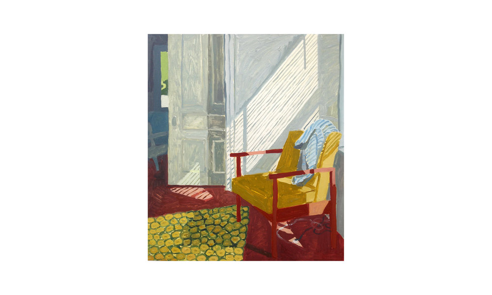 "Green Chair, Afternoon,  oil on panel, 24"" x 28"", 2018, $1,800 SOLD    Contact us for purchase"