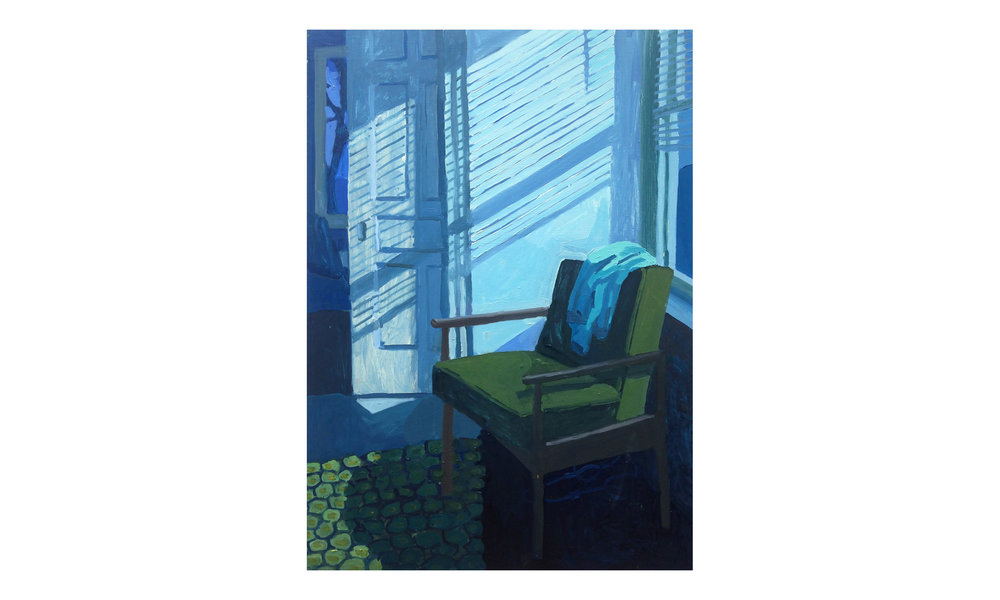 "Green Chair, Blue Of Night,  oil on panel, 24"" x 33"", 2018, $2,000    Contact us for purchase"