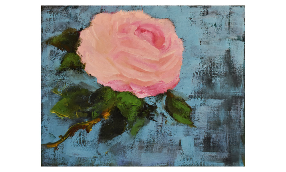 """Peach Rose,  oil on canvas panel, 8"""" x 10"""", $200    Contact us for purchase"""