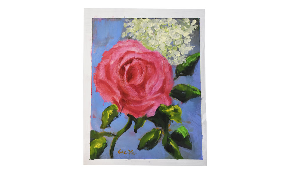 """Rose,  oil on watercolor paper, 8"""" x 11"""", $200    Contact us for purchase"""