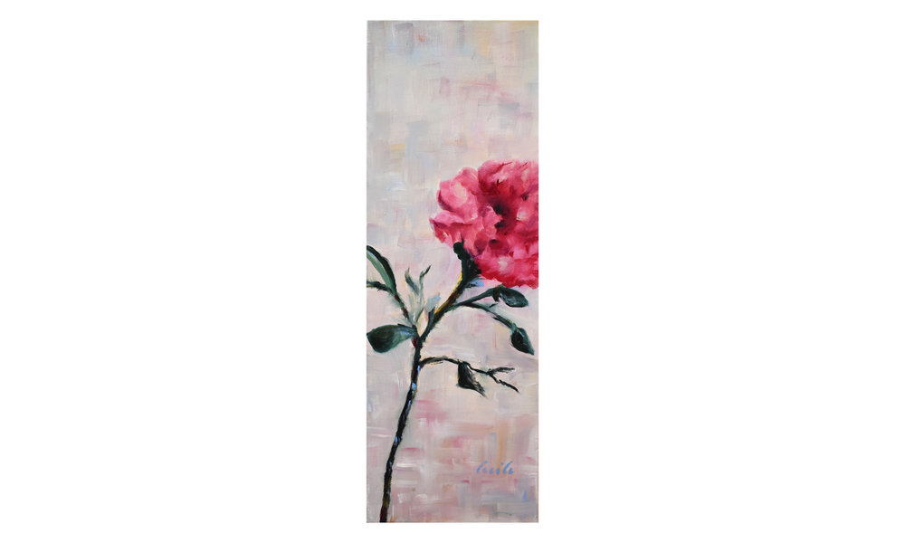 """Peony , oil on stretched canvas, 8"""" x 24"""", $350    Contact us for purchase"""