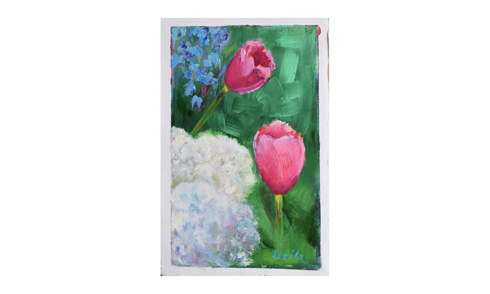 """Tulips II , oil on paper, 7.5"""" x 11.5"""", $250    Contact us for purchase"""