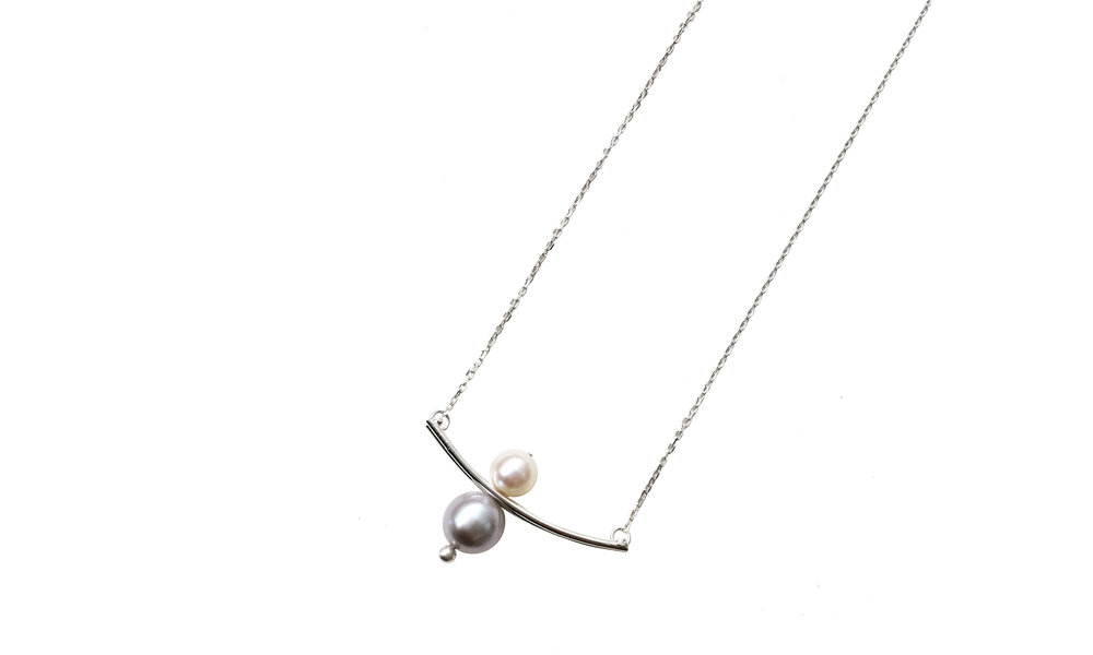 Moving Pendant with White Pearls , sterling silver, fresh water pearls, $108    Contact us for purchase