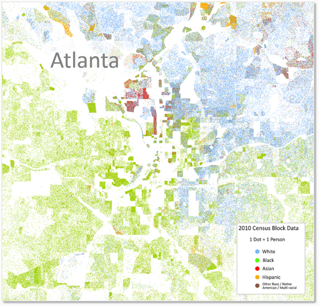 Dot Map of Atlanta's Race Distribution