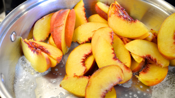 Tip: you want the peaches to be soft enough , but not overcooked where they break apart.