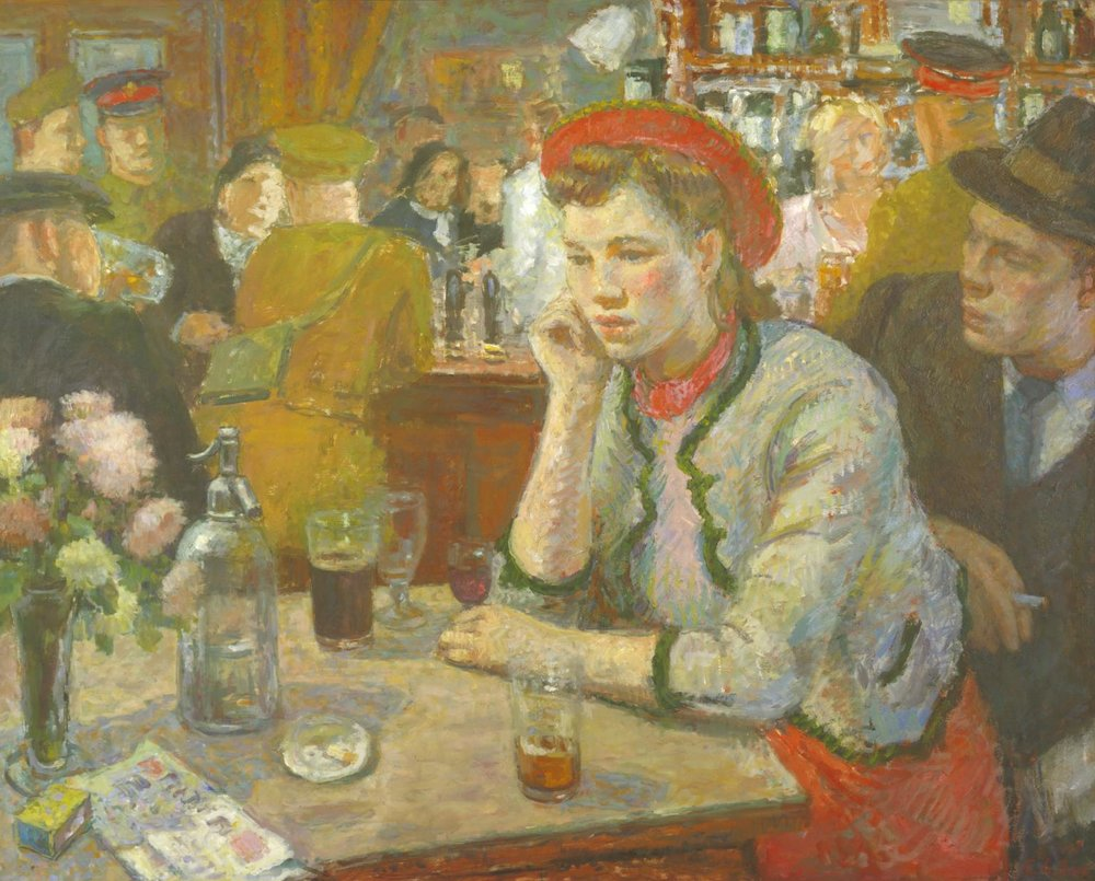 Edward Le Bas liked painting disappointed women. This was also the cover of Jean Rhys' boozy book (one of them),  Sleep it Off, Lady