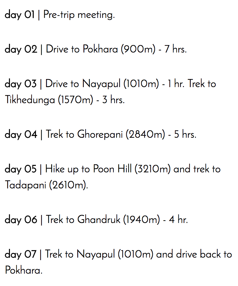 Poon Hill Itinerary