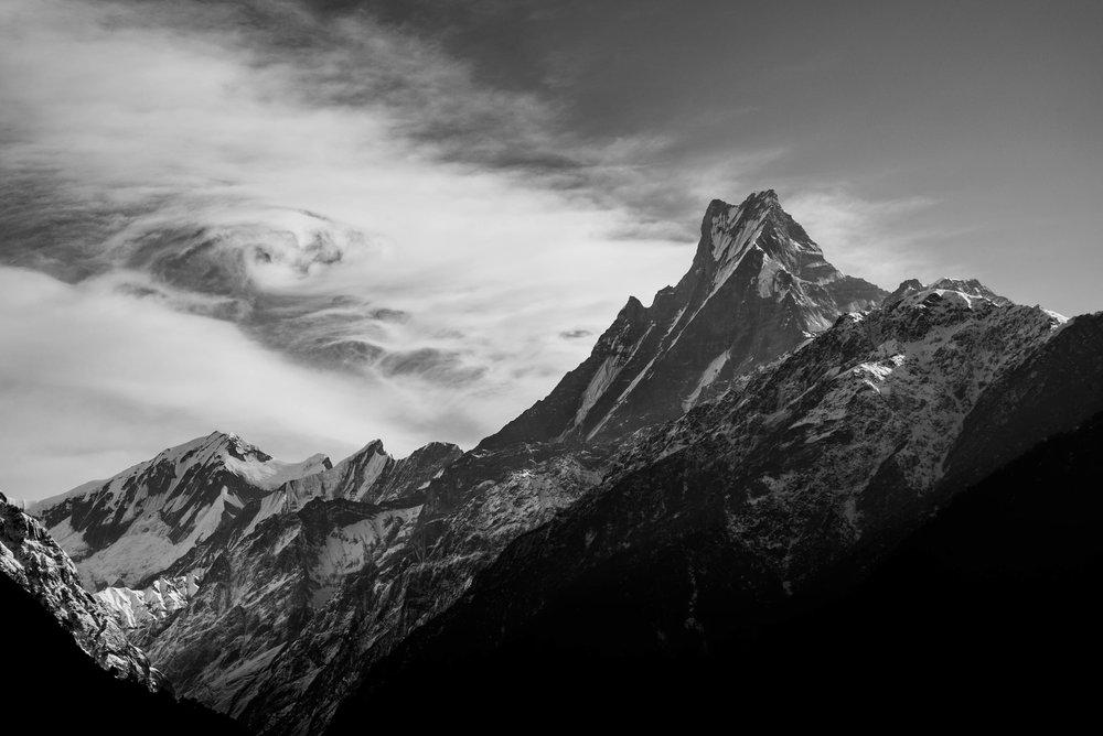 Machhapuchhre peak in the Annapurna mountain range