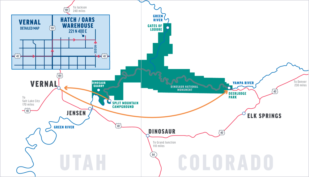 Map of the Yampa River in Dinosaur National Monument