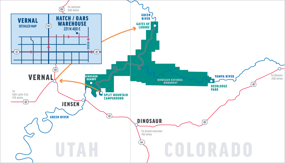 Map of Gates of Lodore canyon and Dinosaur National Monument
