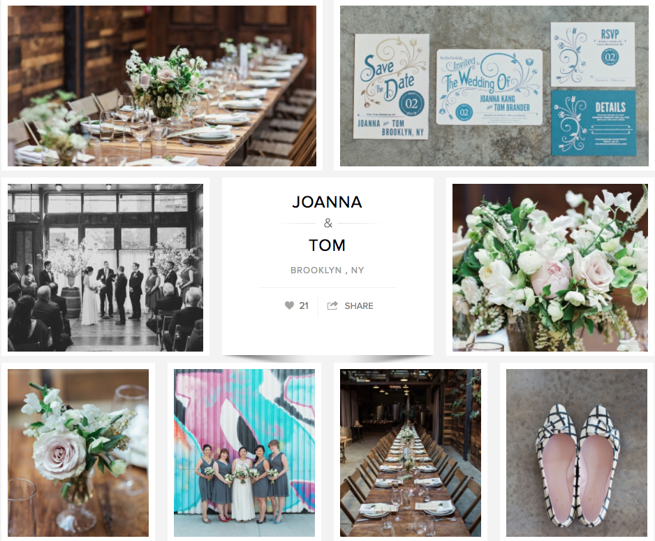 Joanna and Tom's Brooklyn Wedding featured on Carats and Cake