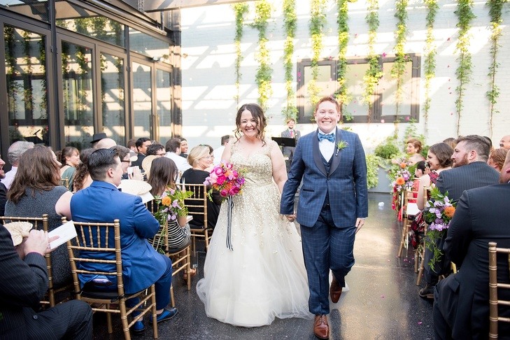 "Sarah and Rebecca's Wedding was featured on The Knot ""A Vibrant Summer Wedding at 501 Union in Brooklyn, New York"""