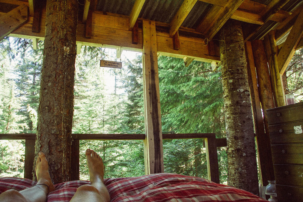Inside the treehouse.