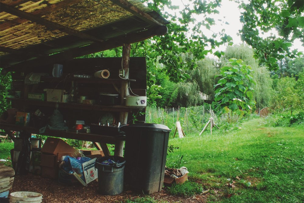 One side of the funky outdoor kitchen at Dancing Springs Farm, outside of Asheville, NC.