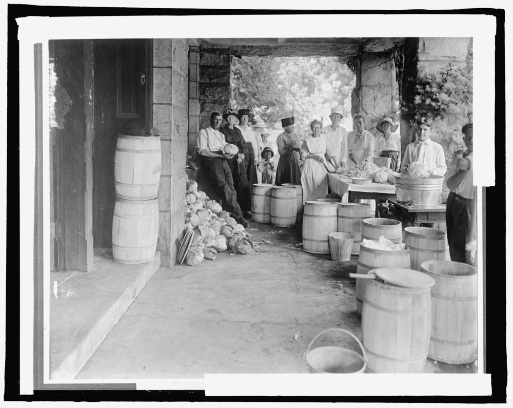 Making Sauerkraut, photo from the Library of Congress.