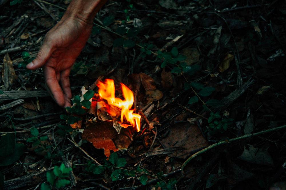 River Birch bark burning