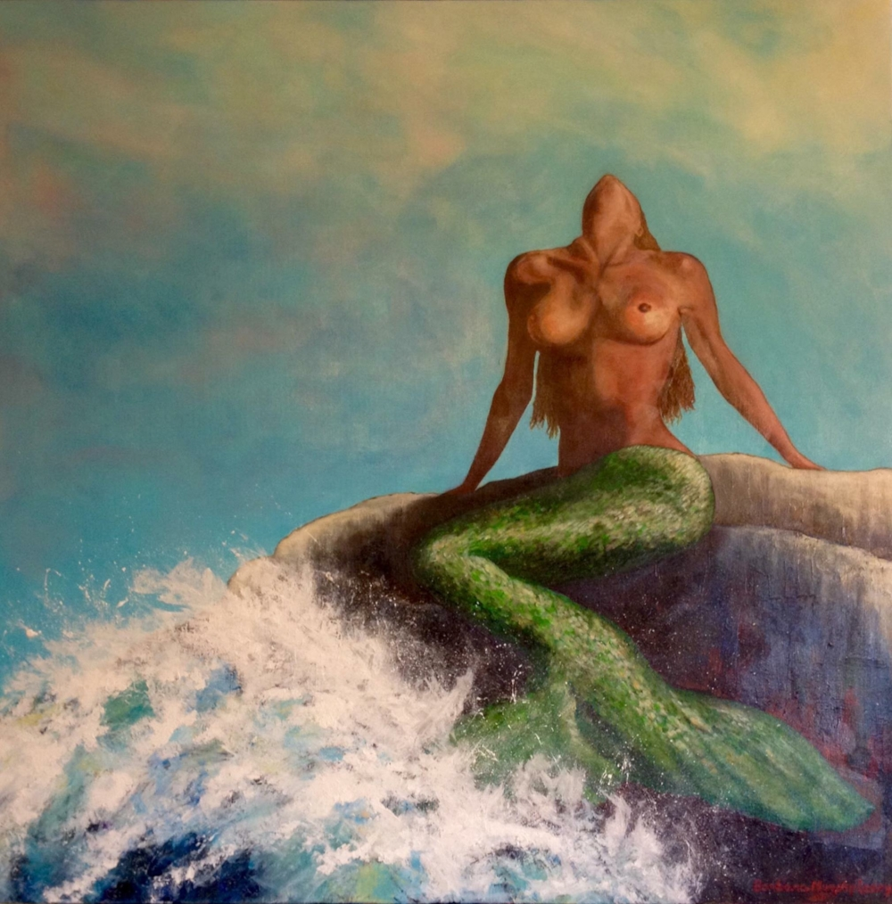 """Sunning Mermaid"" by Barbara Murphy-Leary©"