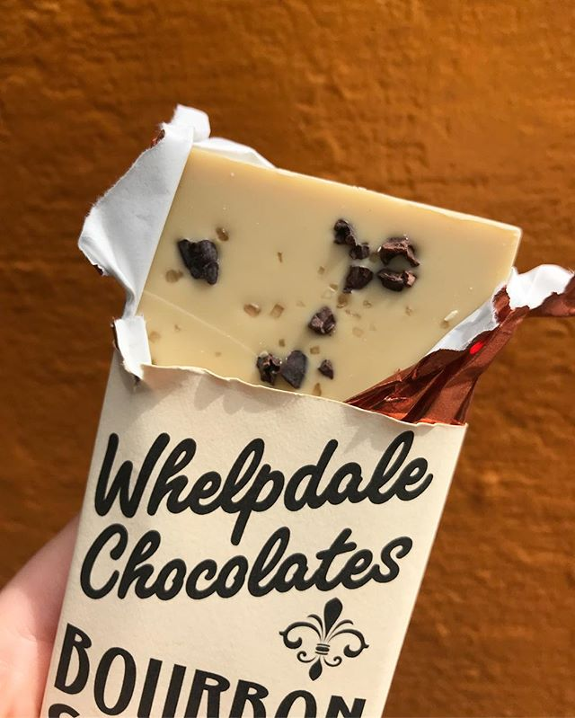 Our bourbon smoked sea salt white chocolate bar is creamy with an occasional crunch of @rabbithole bourbon soaked cacao nibs ✨