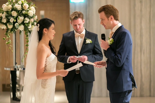 A very touching moment as they read their vows to each other.