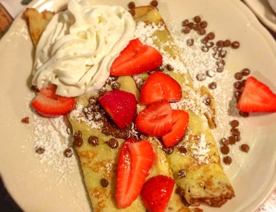 Chocolate Crepes, Walker Bro's - Another classic, this dish is sweet in all sorts of ways with chocolate, whipped cream, and ripe strawberries to freshen up.