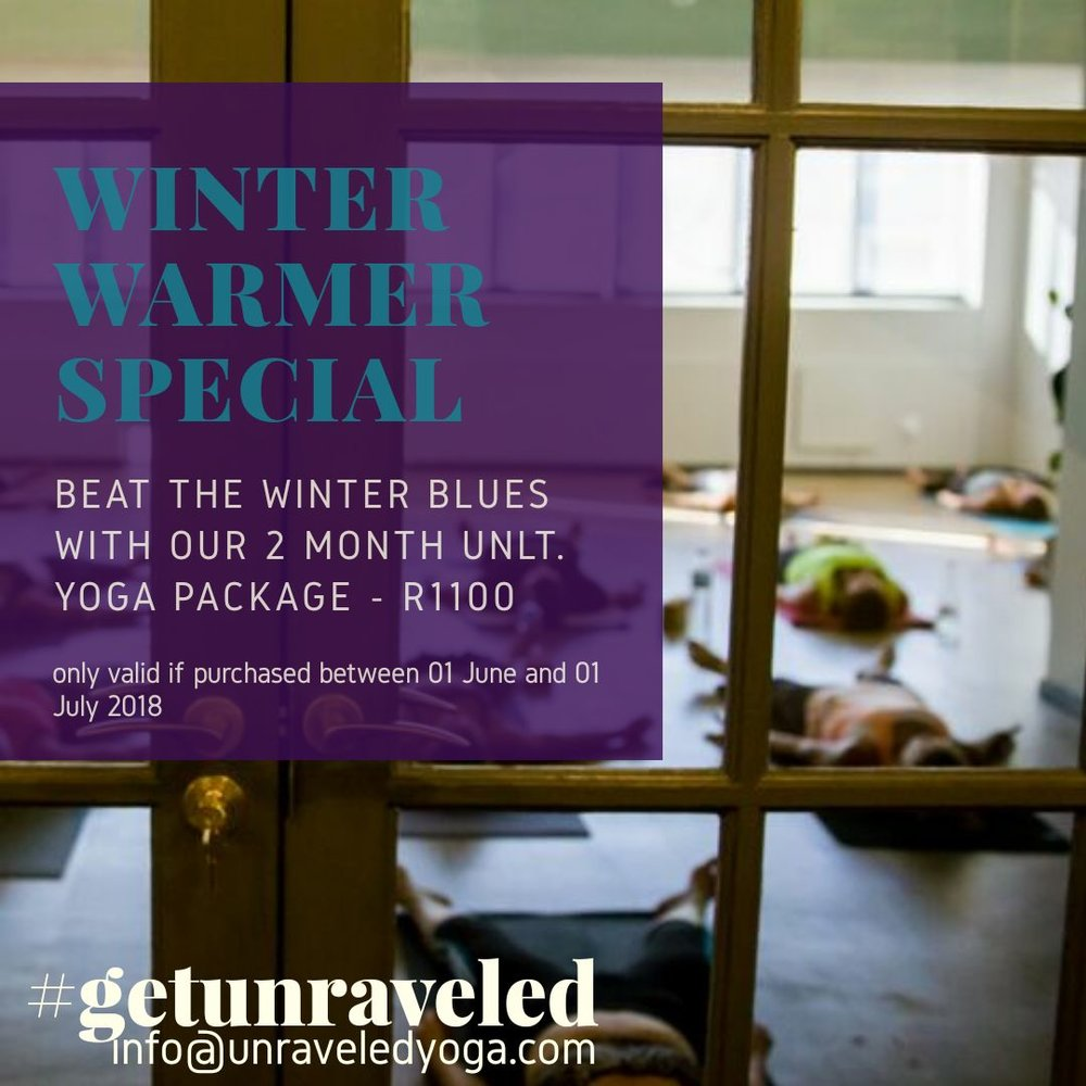 winter warmer yoga special unlimited cape town
